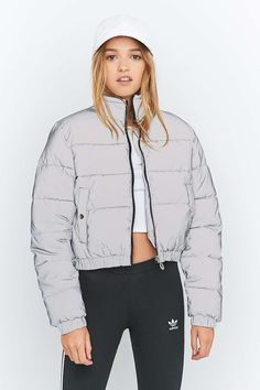 UO Exclusive Fila Toto Reflective Silver Cropped Puffer Jacket