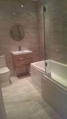 Paul from Sidcup uses contemporary bathroom furniture to style his room with a oak wall hung basin. New Bathroom Ideas, Family Bathroom, Bathroom Design Small, Bathroom Layout, Bathroom Inspiration, Bathroom Renos, Grey Bathrooms, Contemporary Bathroom Furniture, Bath Shower Combination