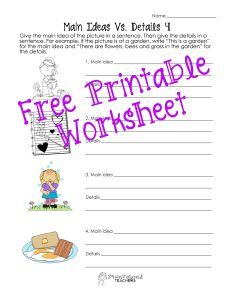 Squarehead Teachers:  Free printable! Uses pictures to teach main ideas and details.
