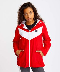 Give your wardrobe a comfy warm up with this color block jacket to define your athleisure style. Red Chevron, Athleisure Fashion, True Red, Color Blocking, Adidas Jacket, Hoods, Hooded Jacket, Tommy Hilfiger, Rain Jacket