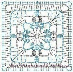 21 trendy ideas for crochet stitches diagram charts granny squares Crochet Doily Diagram, Crochet Motifs, Granny Square Crochet Pattern, Crochet Blocks, Crochet Stitches Patterns, Crochet Chart, Crochet Squares, Crochet Doilies, Crochet Flowers