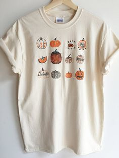 Pumpkin T-Shirt Halloween Shirt Screen print shirt Foodie Gift Clothing Gift - Fall Shirts - Ideas of Fall Shirts - 𝘦𝘮𝘮𝘪𝘦𝘭𝘰𝘶𝘪𝘴𝘦