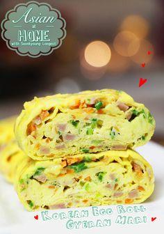 Gyeran Mari : Korean Egg Roll : Korean Rolled Omelet : 계란말이 만들기