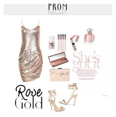 """""""Rose gold prom"""" by starsandpeonies ❤ liked on Polyvore featuring Giuseppe Zanotti, BCBGMAXAZRIA, Urban Decay, Ciaté and Guerlain"""