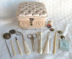 Antique Victorian Tufted Silk Sewing Box Kit w/Bone Handled Tools
