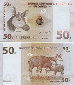 The okapi on the 50 Congolese francs banknote