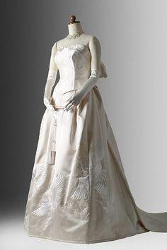 setsuko wakatsuki / 白無垢ドレス-No,108 白無垢鶴&扇面柄セパレート / 着物ドレス 和ドレス
