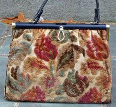 Vintage Kelly Bag made with soft chenille fabric on a metal frame.  Sumptuous 62ab4b4d0f05e