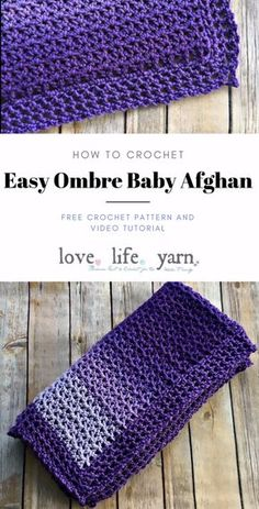 Easy Ombre Baby Afghan - Free Crochet Pattern Let the yarn do all the color work with this easy baby afghan! Uses Red Heart Super Saver Ombre yarn to achieve the ombr. Crochet Baby Blanket Free Pattern, Baby Afghan Crochet, Afghan Crochet Patterns, Knitting Patterns, Crochet Blankets, Baby Blankets, Crochet Stitches, Baby Afghans, Crochet Gratis