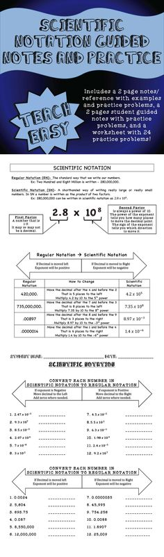 This is 7 pages of Scientific Notation notes and practice. 2 pages of references and notes with practice problems, 2 pages of student guided notes, a full worksheet with practice problems and answer keys! This is a good reference that students can use as a homework helper, but it is also good for teachers to use as a lesson.  ANSWER KEYS INCLUDED!