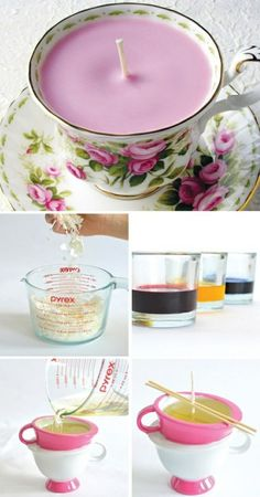 ▷ 1001 + ideas for amasing and simple DIY candles vintage teacup candles, step by step, diy tutorial, mason jar candles, different colours wax Old Candles, Teacup Candles, Pink Candles, Mason Jar Candles, Make Candles, Candle Cups, Candle Art, Natural Candles, Homemade Candles