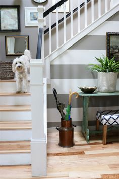 Gray and White Striped Entry Wall - The Inspired Room