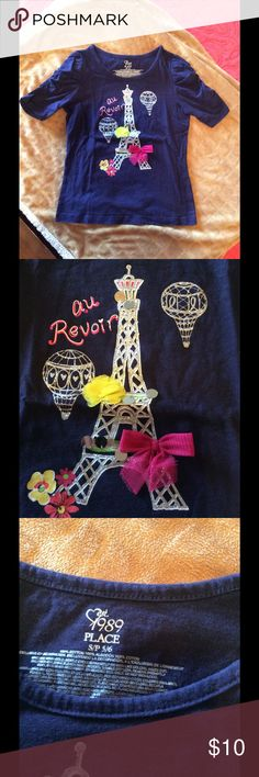 Children's Place Navy Blue Top So blingy...a Paris themed beauty that any little girl would love.  Very ornate decor and will go with anything.  3/4 length sleeves with ruching to add to this lovely design. Children's Place Shirts & Tops