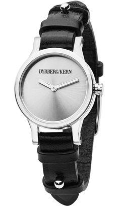 Dyrberg/Kern armbåndsur til kvinder med sort læderrem - Dyrberg/Kern Prominencia SL 4S2 336016 Aesthetic Pictures, Smart Watch, Swarovski, Watches, Silver, How To Wear, Shopping, Jewelry, Design