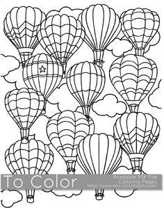 Printable Hot Air Balloon Coloring Page for Adults, PDF / JPG, Instant Download, Coloring Book, Coloring Sheet, Grown Ups, Digital Stamp by ToColor on Etsy