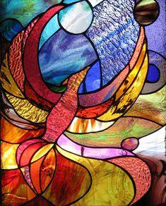 Karen Dawson Art--Glass Art, stained glass Gallery  Phoenix Rising Detail