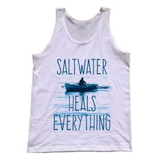 Unisex Saltwater Heals Everything Tank Top - Inspirational Motivational Nautical Ocean Summer Beach Vacation Relaxation Shirt. Printed on soft 100% combed, ringspun cotton with eco-friendly water-based inks. $25.00 from #Boredwalk, plus free U.S. shipping. Click to purchase!