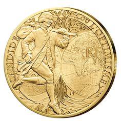 Französische Goldmünze zum Thema Literatur