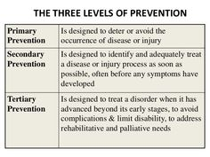 There are three levels of prevention. The primary level is to prevent the disease from happening and there are no current signs of the disease. Secondary prevention is where there are symptoms and preventative measures are taking place before it develops any further. The tertiary prevention is when someone already has the disease but prevention is used to treat it.