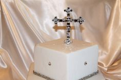 "Baptism Cake Topper Cross 5"" Mosaic Style For Baptisms Christenings Communion by Chicsparkles on Etsy Monogram Cake Toppers, Gold Cake Topper, Cross Cakes, Baptisms, Cross Designs, Communion, Wedding Accessories, Christening, Swarovski Crystals"