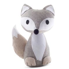 Grey Fabric Fox Doorstop Home Accessory