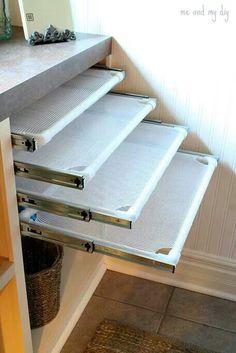 Built in laundry drying racks