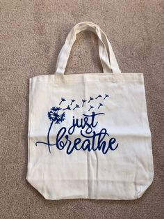 Frogkissers by Frogkissers Floral Tote Bags, Reusable Grocery Bags, Just Breathe, Beige Color, Blue Fabric, Dandelion Flower, Purses, Canvas, Etsy Shop