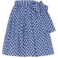 Miu Miu Printed Cotton Skirt (26.765 CZK) ❤ liked on Polyvore featuring skirts, blue, miu miu skirt, cotton knee length skirt, blue cotton skirt, cotton skirts and blue skirt