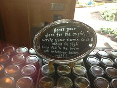 Mason jar wedding guest gifts and sentiment. Lucy's garden in Ridgefield, Washington. Wedding and party venue.