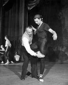 George Balanchine Instructing Dancer Berly Grey Candid Photo