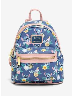 backpacks The perfect backpack for a beach trip! This periwinkle blue mini backpack from Disney'sLilo & Stitchand Loungefly features an allover print inspired by Hawaiian tropical print and Stitch Disney, Lilo Et Stitch, Stitch Doll, Lelo And Stich, Stitch Backpack, Deco Disney, Cute Mini Backpacks, Cute Stitch, Vetement Fashion
