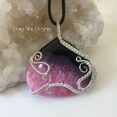 #336 - Onyx/Druzy - sterling silver wire wrapped pendant necklace #jewelry @MMCDaisyMay