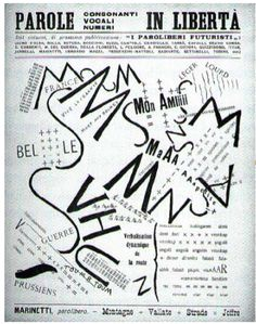 marinetti: words in liberty (mountains +) 1915