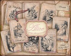 ALICE in Wonderland PRINTABLE  Atc Aceo Collage by pixelmarket, €3.90