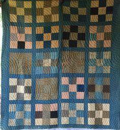 Old ANTIQUE Vintage 9-PATCH Quilt BLUE CALICO Fabrics