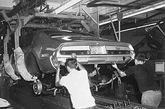 Oldsmobile assembly line Toronado body drop in Lansing, Michigan - 1966