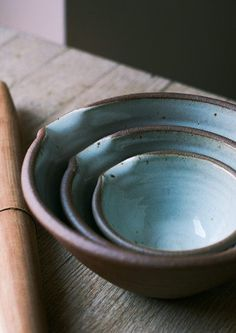 Leach Studio Mixing Bowls - - Stoneware with a dolomite glaze. Hand thrown in Cornwall at the Leach studio. Bowls stack neatly inside one another. Each set comes with a voucher for entry into the Leach Museum in St Ives, Cornwall. Slab Pottery, Pottery Bowls, Ceramic Pottery, Wabi Sabi, Earthenware, Stoneware, Cornwall, Wheel Thrown Pottery, Bowl Designs