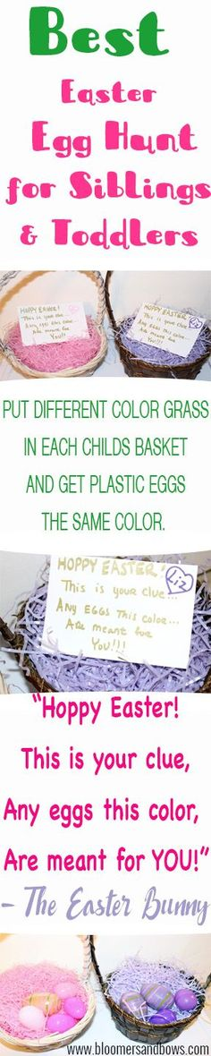 Best Easter Egg Hunt Idea for Siblings Best easter egg hunt for siblings and toddlers. Help toddlers with their colors this Hoppy Easter. Bloomers and Bows New Baby Crafts, Holiday Crafts For Kids, Holiday Fun, Holiday Ideas, Baby's First Easter Basket, Easter Baskets, Easter Dinner, Easter Party, Easter Hunt