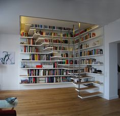 Ideas Home Library Ideas Diy Bookshelves House Book Stairs, Bookcase Stairs, Modern Bookcase, Attic Stairs, Bookshelf Bench, Garage Attic, Attic Floor, Attic Ladder, Attic Window