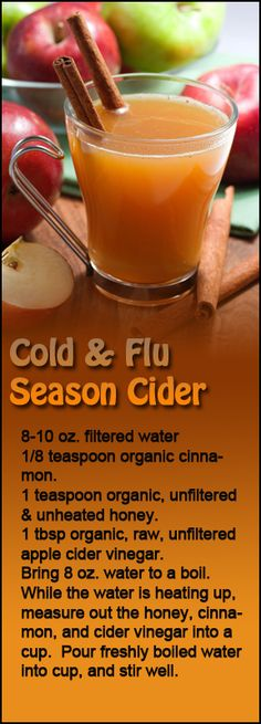 Cold and flu season hot apple cider vinegar and honey drink. So soothing.   simplygreenandhealthy