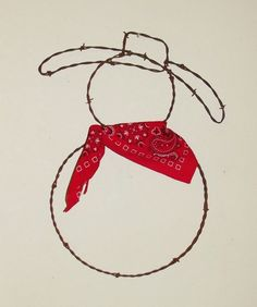 Barbed Wire Cowboy Snowman holiday rustic western yard art wall sculpture $15.95 SEASONAL