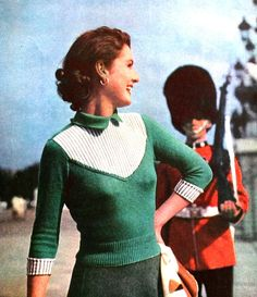 Easy-to-wear on-duty jumper, Stitchcraft November 1951 (image scanned by Magdorable)