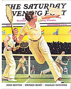 Magazine illustration reached the zenith of it powerful beauty during the days of the Depression. Peppy birght and optimistic art sold hundreds of copies of The Saturday Evening Post. Tennis match is exuberantly translated onto M.L. Bower's cover for 1936.