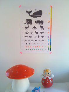 cartel infantil ¿qué ves? - tabla optométrica de animales - posters, laminas, afiches y carteles originales por el estudio E-Glue