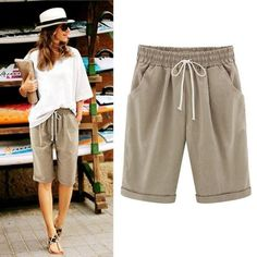 8dd88c84654 Half Long Basic Shorts Plus Size Candy Colors Summer Shorts New Fashion  Loose Cotton Linen Elastic Waist Shorts