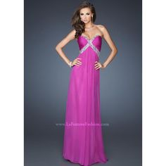 Magenta 2014 La Femme 18843 Homecoming Dresses ❤ liked on Polyvore featuring dresses, long blue dress, chiffon dresses, open back long dresses, open back dresses and strapless chiffon dress