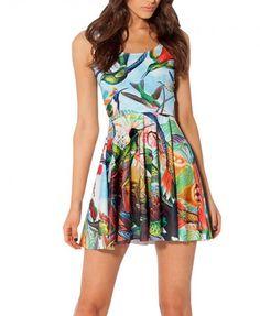 12.95 Multi color bird print skater dress