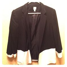 LC Lauren Conrad Black & White Blazer Beautiful black blazer with white on the bottom. Size 8 (perfect for Medium fit). Goes great with an outfit for work or an evening out. Worn once. Any questions please ask  LC Lauren Conrad Jackets & Coats Blazers