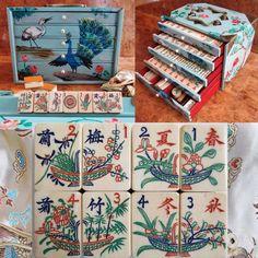 Vtg, 1920s Bone & Bamboo Mah Jong Set of 152 Tiles, Painted Box, Flower Pots