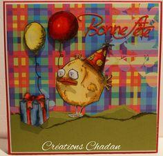 Carte d'anniversaire réalisée avec une étampe et une découpe Crazy Birds de Tim Holtz